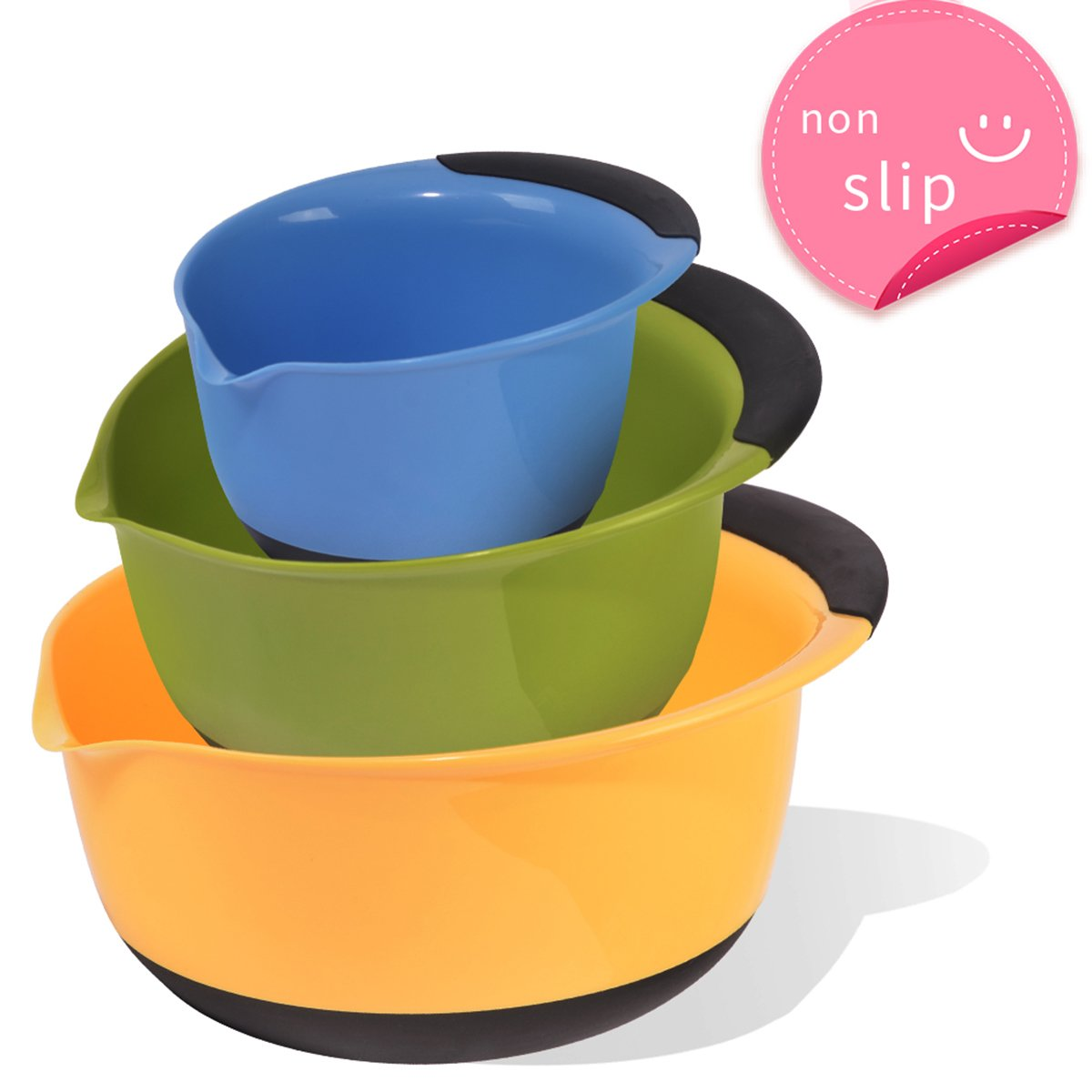 SZUAH Plastic Mixing Bowl Set of 3, Nesting Mixing Bowls with Pouring Spout, Non-Slip Rubber Handle & Bottom, for Baking & Salad Mixing, BPA Free.