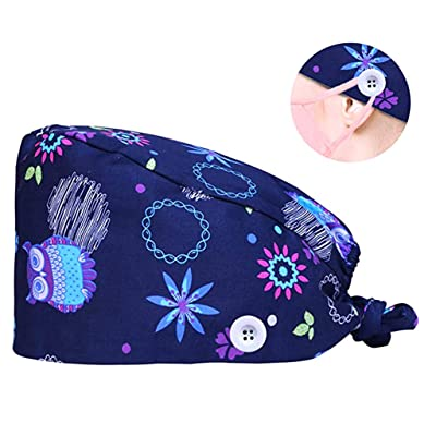 CHAELAKES Surgical Scrub Cap Medical Doctor Bouffant Hat with Sweatband for Womens Mens Cute Pattern Print Cotton Sweatband: Toys & Games