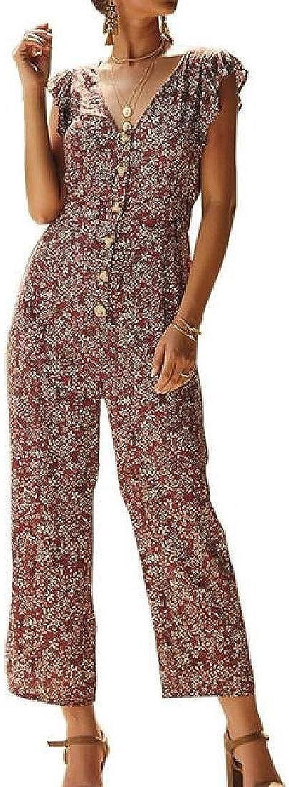 Abeaicoc Womens Ruffle Sleeveless Chiffon Floral Print Wide Leg Rompers Jumpsuit
