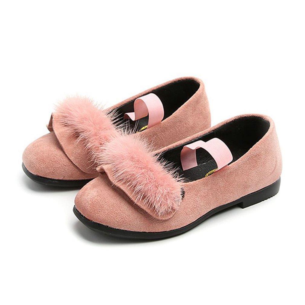 CYBLING Girls Mary Jane Slip On Ballerina Flat Shoes With Pom Pom Accent (Toddler/Little Girl)