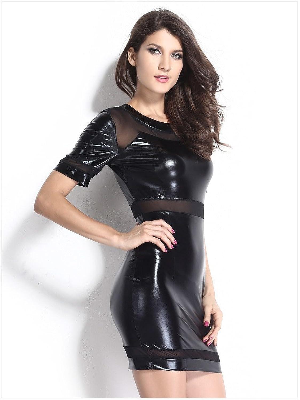 Women's Imitation Leather Mesh Splicing Short Sleeve Tight Dress