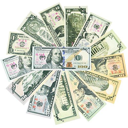 Money Prop Money Set 1, 2, 5, 10, 20, 50, 100 Dollar Bills Double Sided Pretend Play Money for Motion Picture Props, 350 Bills, Amount 9,400 Dollars ()