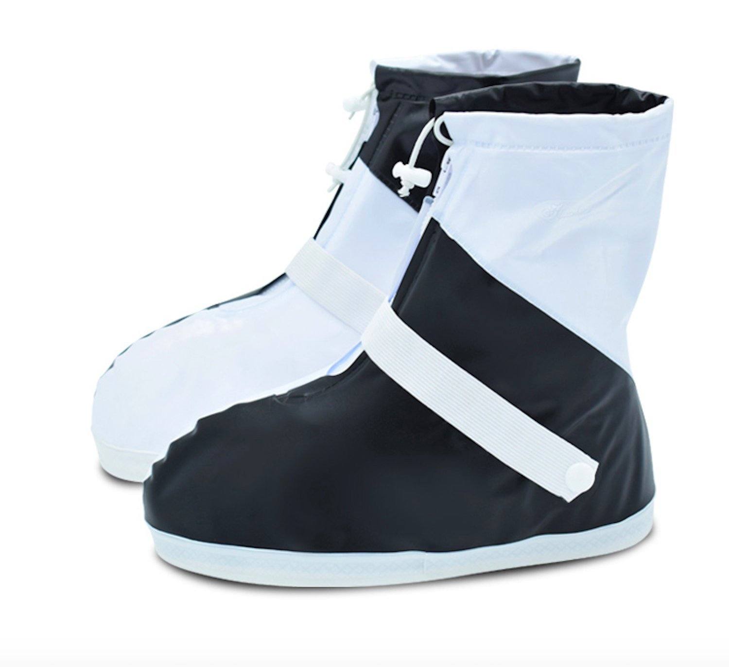 ARUNNERS Rain Boots Shoes Covers Overshoes Galoshes Wellies Gumboots Travel for Women Men (2XL, Black & White)