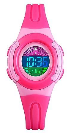 BHGWR - Reloj Digital para niñas, Resistente al Agua, con cronómetro, Alarma,