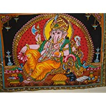 MontrealTapassier MontrealTapssier Resting ganesha indian multi colored wall hanging tapestry