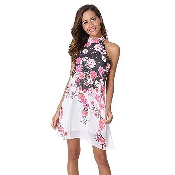 JUNHONGZHANG Moda Vestido Halter Sin Respaldo Knee-Length Girly Vestido De Verano Femenina Una Impresión