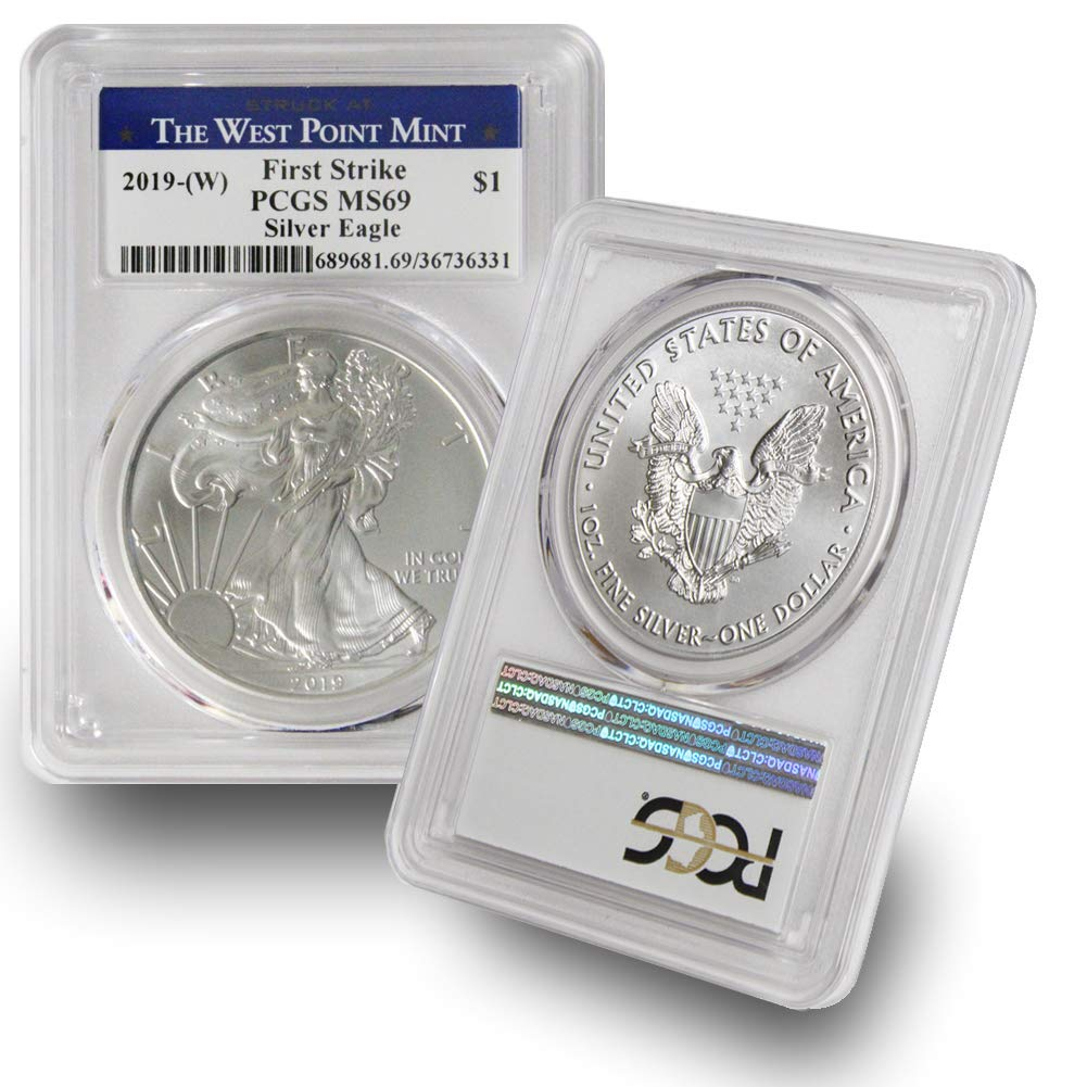 $1 American Silver Eagle PCGS MS69 West Point Label W 2019