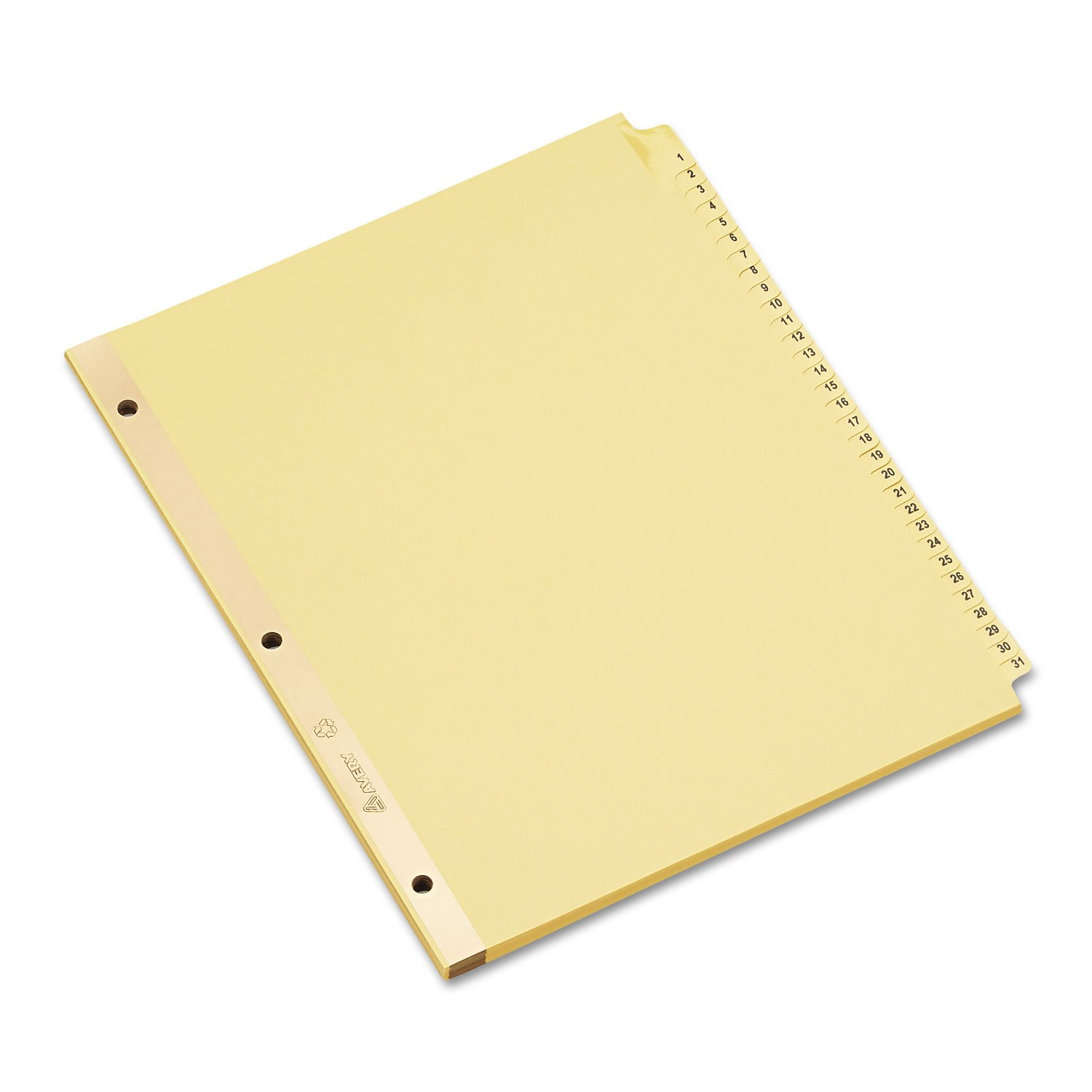 Avery 11308 Preprinted Dividers, 1-31 Tabs, 8-1/2 x 11, Buff Color, 31 Tabs/Set