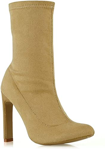 Womens Ladies Slim Sock Fit Ankle Boots Pointed High Stiletto Heel Party Shoes