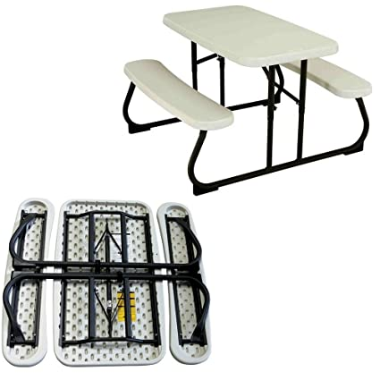 EFD Kids Table Bench Set Folding White Plastic Steel Portable All Weather Activity Picnic Outdoor Patio  sc 1 st  Amazon.com & Amazon.com: EFD Kids Table Bench Set Folding White Plastic Steel ...