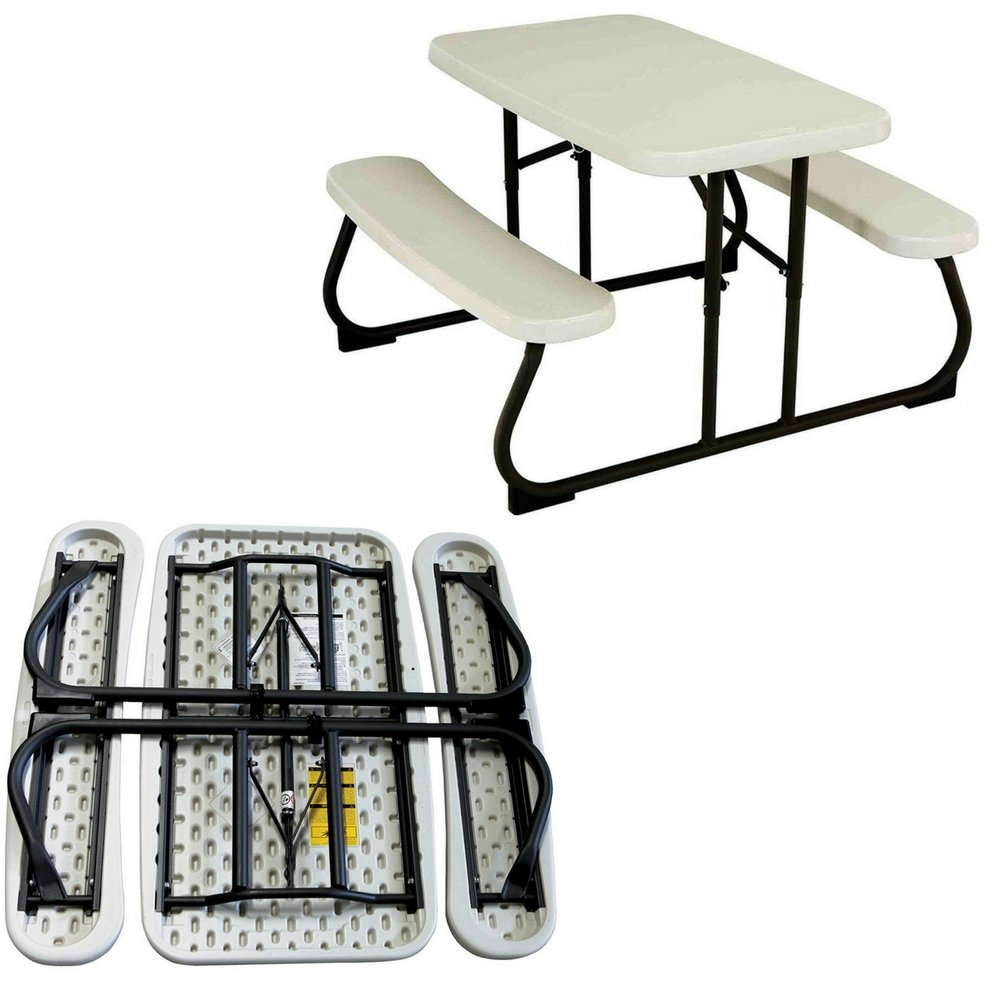 Kids Table Bench Set Folding White Plastic Steel Portable All Weather Activity Picnic Outdoor Patio Play Room Children Table with Benches eBook By Easy&FunDeals