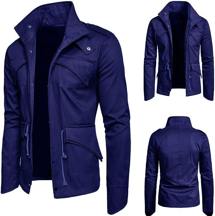 Chaqueta de Hombre Otoño Invierno Trench Abrigo Overcoat Sudadera con Capucha de Manga Larga para Hombre Color Puro Jersey Blusa Amlaiworld