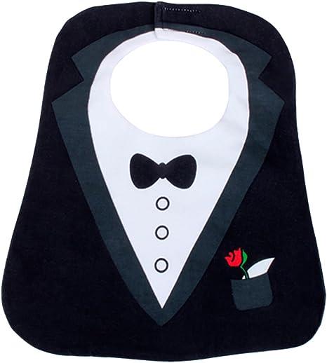 Baby Toddler Boy Waterproof Bib Cloth Tuxedo Feeding Bibs Wedding Party Dress Up