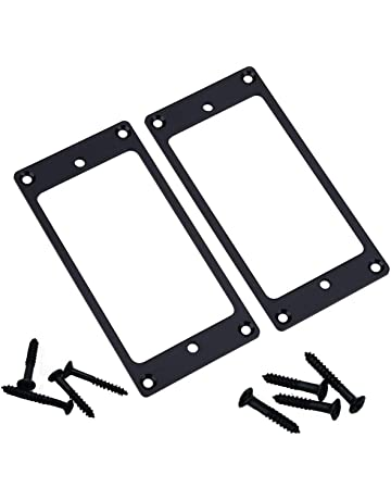 2PCS ShareGoo Metal Flat Humbucker Cover Electric Guitar Pickup Frame Mounting Ring with Screws (Black