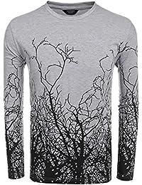 Men's Fashion Long Sleeve Shirt Tree Shadow Printed Graphic T-Shirt