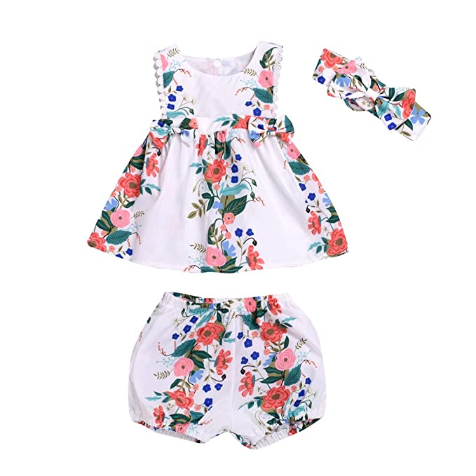 Newborn Baby Girl Summer Clothes Floral Sleeveless Tops Dress Shorts Outfits Set