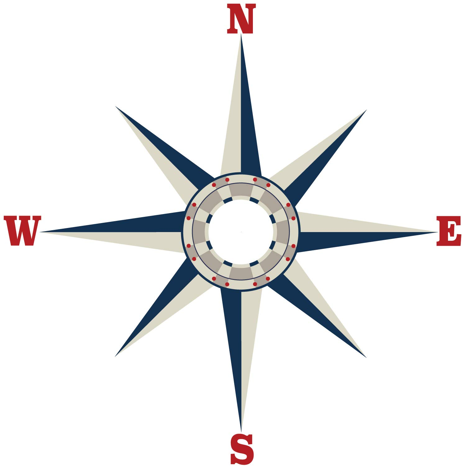 Large Nautical Compass Wall Decal, Fabric Decal, Removable, Repositionable Matte Fabric Peel and Stick Decals Ceiling Wall Decals