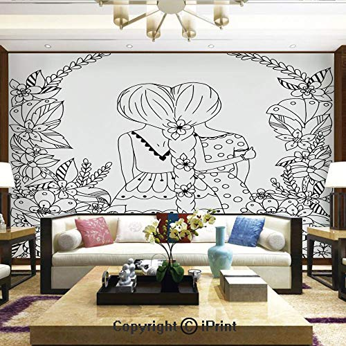 My Little Pony With Moon And Wand (Wallpaper Nature Poster Art Photo Decor Wall Mural for Living Room,Girlfriends with Conjoined Ponytails Hugging Friendship Coloring Book Style Design,Home Decor - 100x144)