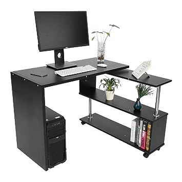 GOTOTOP 360 Grados Giratorio Ajustable Escritorio de Esquina para Computadora con Estantes de Libros Mesa para Ordenador Portátil en Forma L (Negro): ...