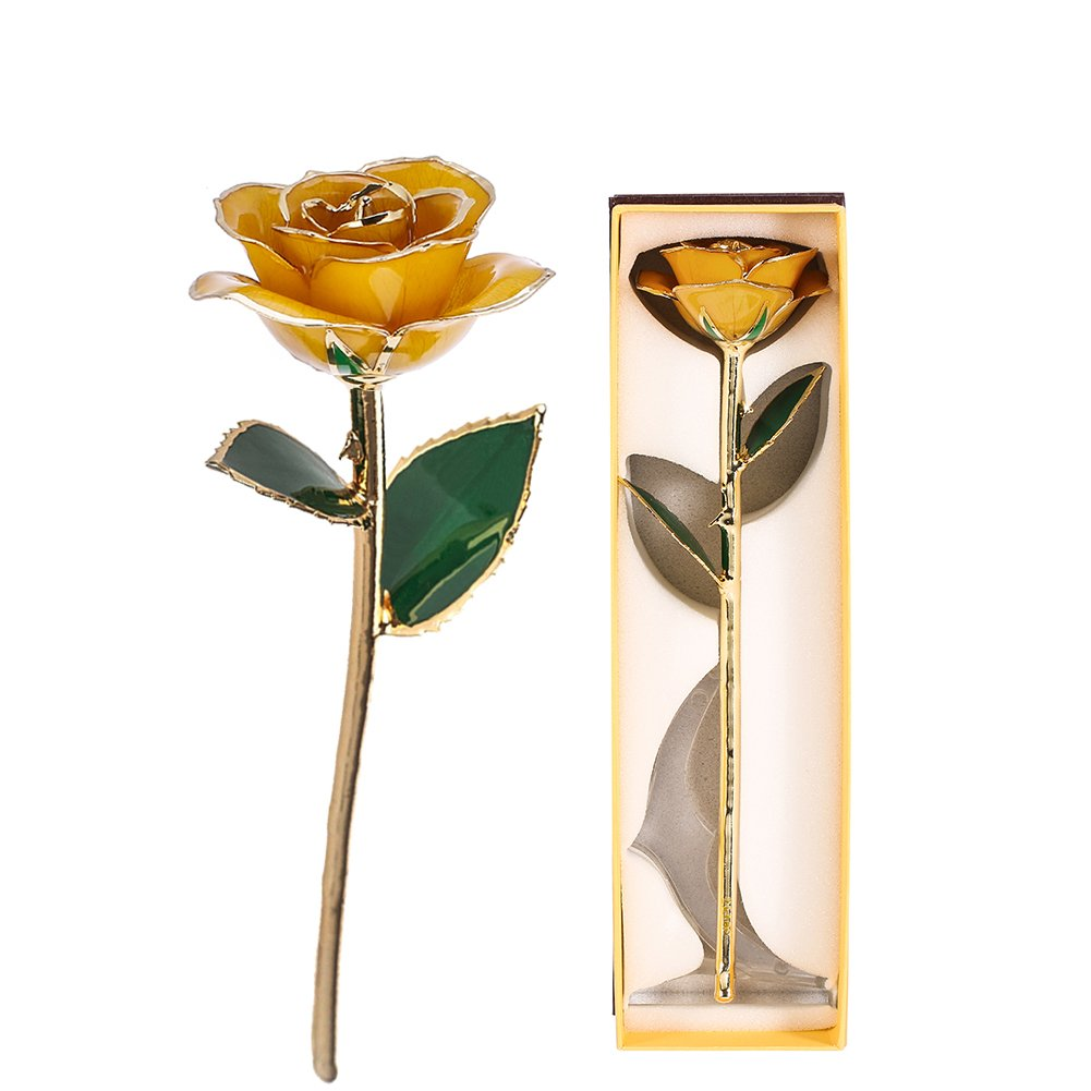 ZJchao Gifts for Women, Long Stem Dipped 24k Gold Trim Red Rose in Gold Gift Box with Stand Best Gift for Valentines/Mothers/Anniversary/Birthday/Galentine's Day(Yellow Rose with Stand) by ZJchao (Image #4)