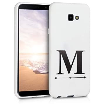 kwmobile Funda para Samsung Galaxy J4+ / J4 Plus DUOS - Carcasa de [TPU] para móvil y diseño Letra M en [Negro/Blanco]