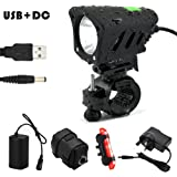 Bike Light Set - 1200 Lumen Super Bright USB and DC charge Waterproof Front and Back LED Bicycle Light Including Headlight Taillight 360 Degree Rotation Brackets for Mountain Bike Road bike