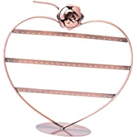 Prettyia Copper Color Heart Shape Rose Earing Necklace Bracelet Organiser Rack Tower