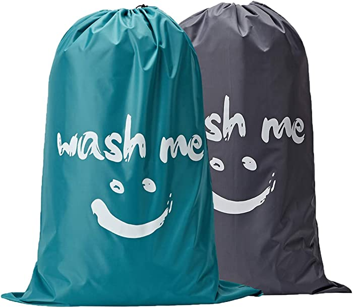 NISHEL Wash Me Laundry Bag 2 Packs, 28×40 inches Rips & Tears Resistant Large Dirty Clothes Storage Bag, Machine Washable, Heavy Duty Laundry Hamper Liner for College Students, Grey and Sky Blue