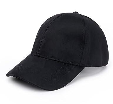panel suede baseball cap classic adjustable soft plain hat black brim caps white