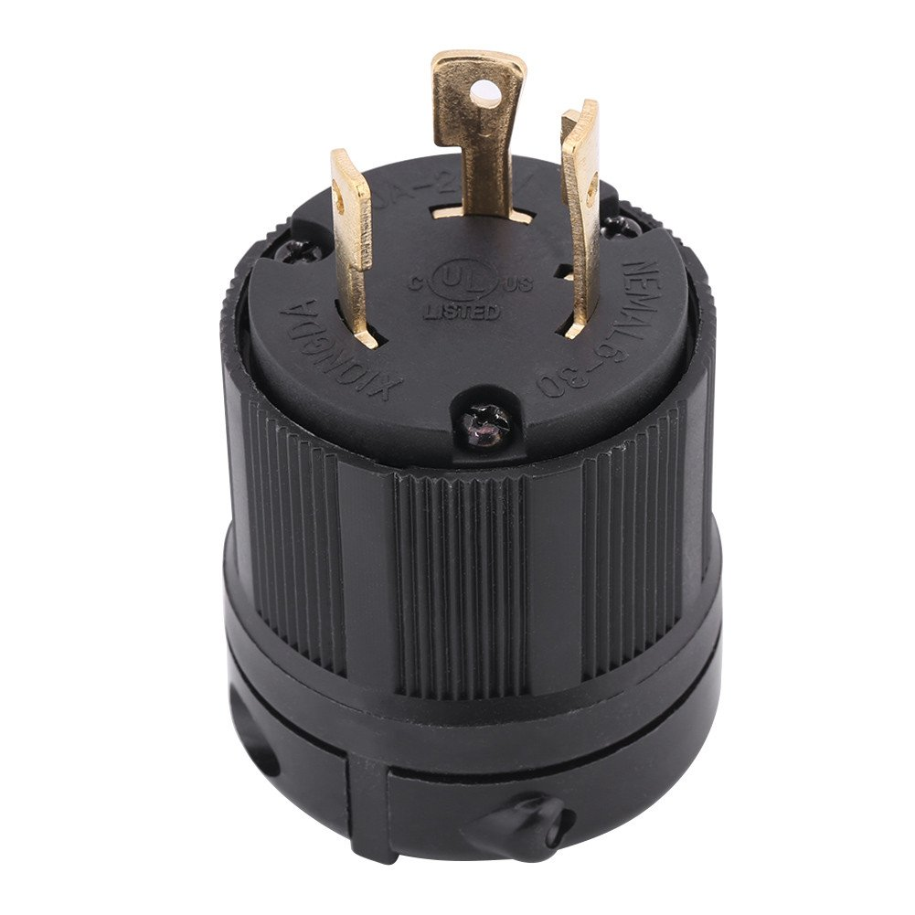 NEMA L6-30P 30 Amp 250 Volt Twist Lock Male Plug USA 3 Pole Industrial Grade Grounding 3-Prong Power Generator Plug Black by Walfront