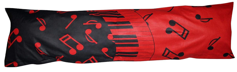/Öko-Tex 100/% Baumwolle Stillkissenbezug SB-071//2 Heubergshop Baumwoll Renforc/é Seitenschl/äferkissen Bezug 40x145cm Musik Noten in Rot und Schwarz