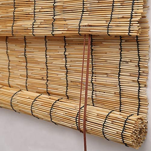 PASSENGER PIGEON Reed Window Blinds, Light Filtering Roll Up Blinds with Valance for Garden,Patio,Gallery,Balcony 69 W x 84 L, Beige No Fabric Border