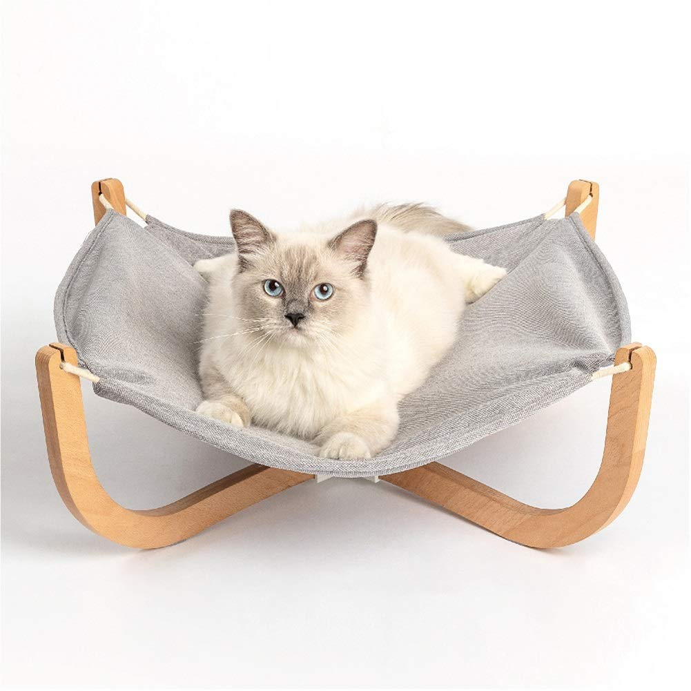 SHYPwM Pet Nest Solid Wood Cat Hammock Wooden Four Seasons Universal Easy to Store Cat Climbing Frame