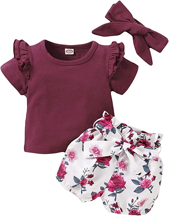i-Auto Time Newborn Baby Girl Clothes Outfits Set Long Sleeve Ruffle Romper+Floral Bow Pants+Headband