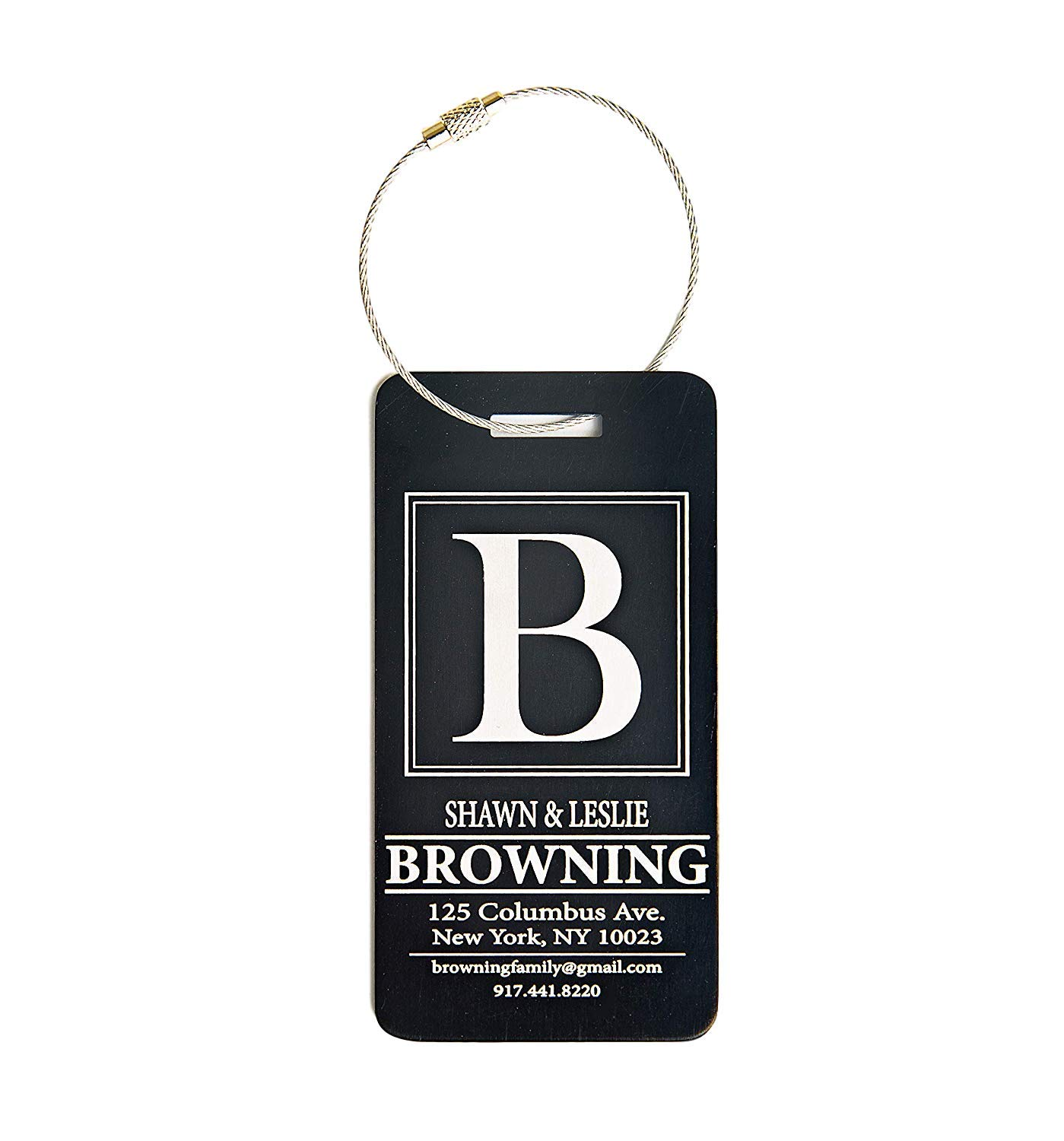 Personalized Luggage Tags Gifts with Engraved Design (Browning Design) - Elegant and Durable Travel Suitcase Name Tags, Gift for Travelers Men and Women (4 Luggage Tags, Black)