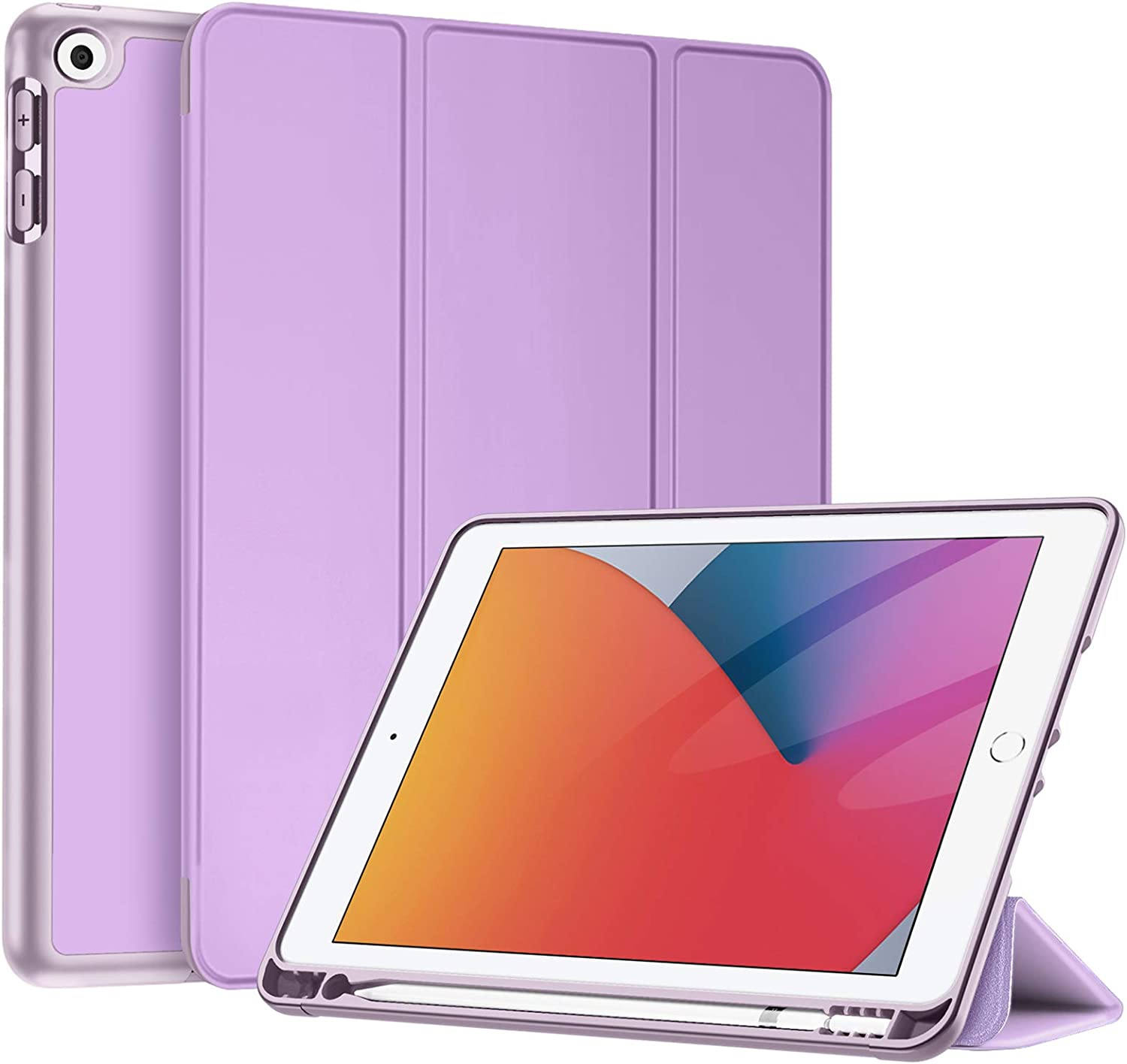 Fintie SlimShell Case for New iPad 8th Gen (2020) / 7th Generation (2019) 10.2 Inch - [Built-in Pencil Holder] Soft TPU Protective Stand Back Cover with Auto Wake/Sleep, Violet