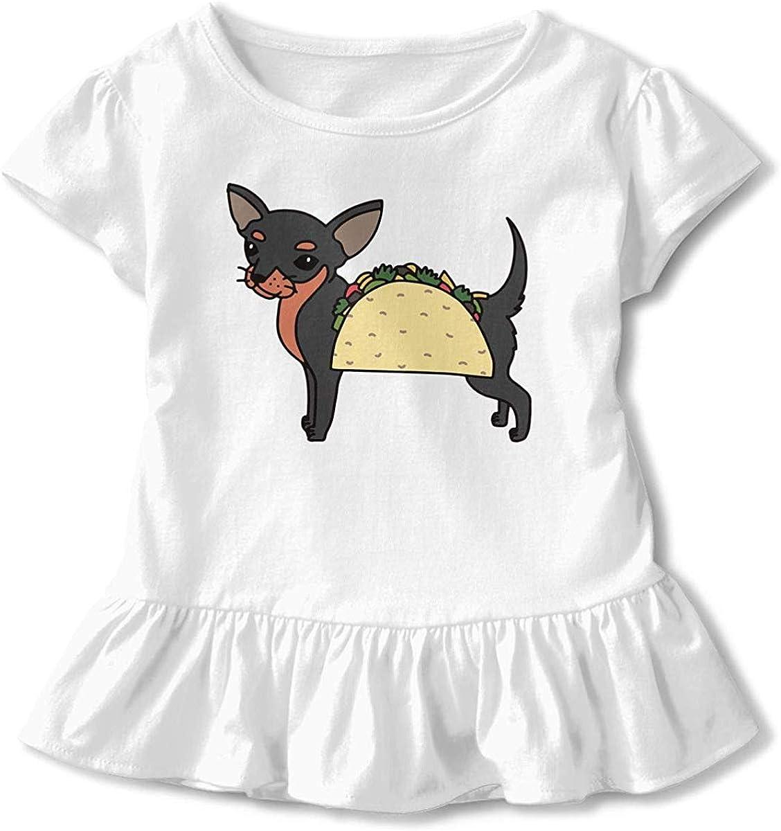 HelloWorlduk Toddler Baby Girl Chihuahua Taco Dog Funny Short Sleeve Cotton T Shirts Basic Tops Tee Clothes