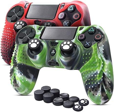 6amLifestyle Funda Protectora Antideslizante de Silicona para Mando PS4, Carcasa para Sony PS4 / PS4 Pro / PS4 Slim Controller (Rojo + Verde 2 Fundas de Mando PS4 + 10 Thumb Grips PS4): Amazon.es: Electrónica