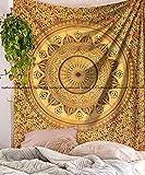 yellow tye dye - Sophia Art Yellow Tye Dye Ombre mandala Mandala Tapestry wall hanging Psychedelic Hippie Mandala Tapestry Dorm Decor Bohemian bedspread bedding bed cover Picnic Blanket (Yellow)