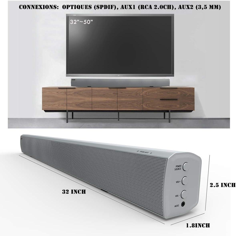 Barra de sonido, LONPOO TV Soundbar 40W Bluetooth Altavoz y Estéreo Hi-Fi Sistema de audio, Coaxial/óptico/ AUX /RCA Salida con mando a distancia (Blanco): Amazon.es: Electrónica