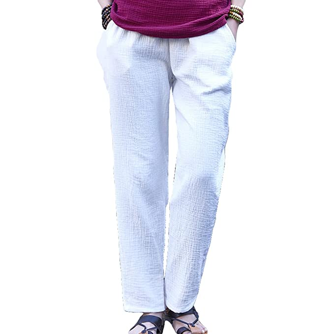 Hibote Pantalones Verano Mujer Cintura Alta Pantalones Lino Con Cordon Pantalones Playa Pantalones Sueltos Color Solido 7 8 Longitud Casual Suave Comodo