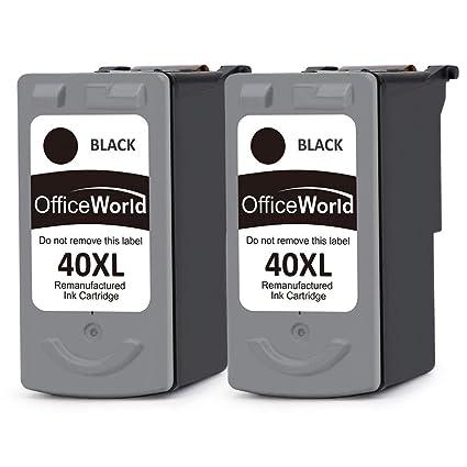 OfficeWorld PG-40 XL Remanufacturados Canon PG-40 CL-41 Cartuchos de tinta Compatible con Canon PIXMA iP1600 iP2200 MP140 MP150 MP160 MP170 MP180 ...