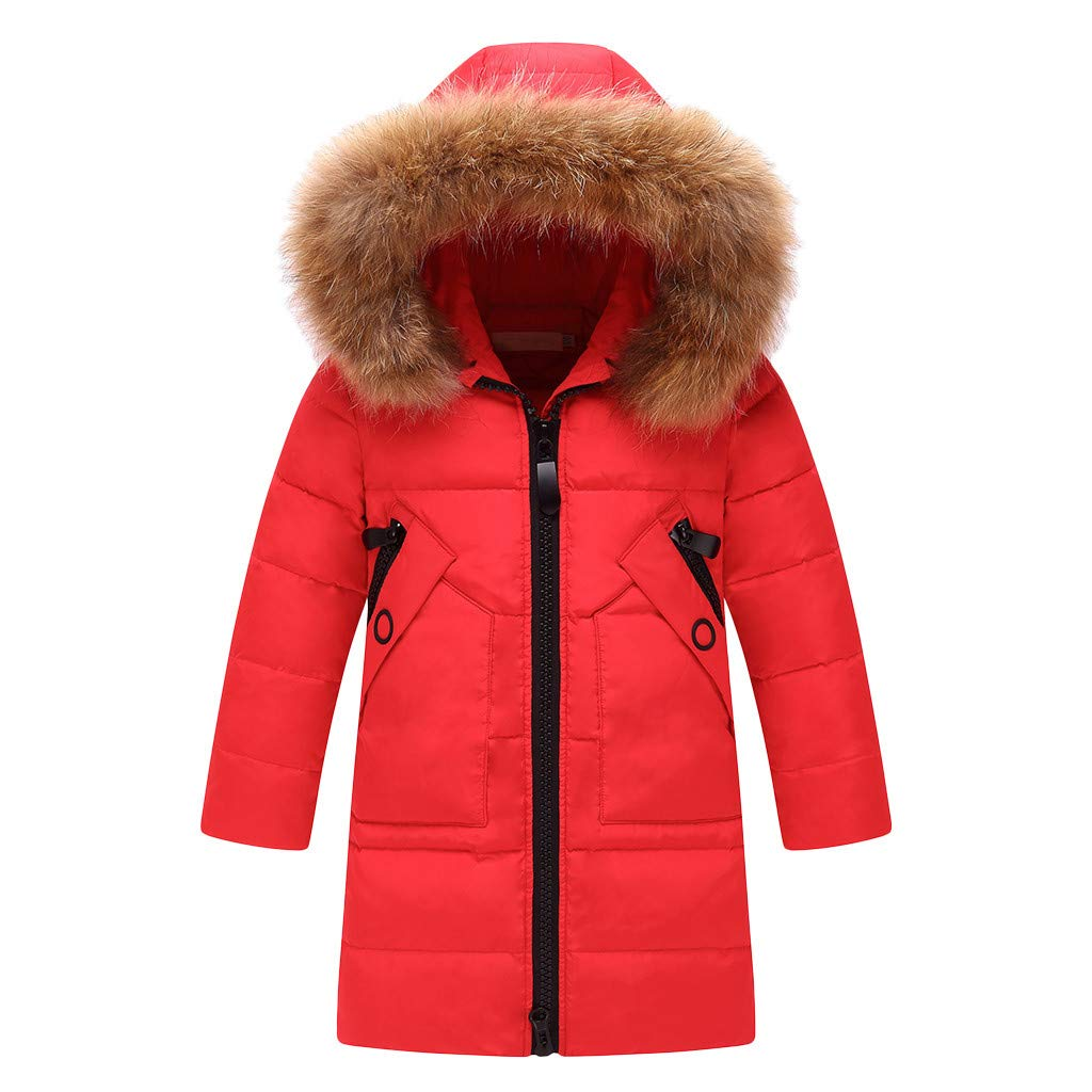 Winter Coat for Kids,DDKK Kids Girls Winter Faux Fur Hooded Parka Down Coat Puffer Jacket Padded Overcoat 2-7 Years Red by DDKK Kids coat