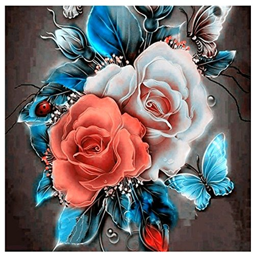 5D Diy diamond painting Rose Flower Square Drill Diamond Embroidery Needlework Mosaic Gift Home Decor Wall Stickers (Colored Rose, 11.81X11.81 inch)