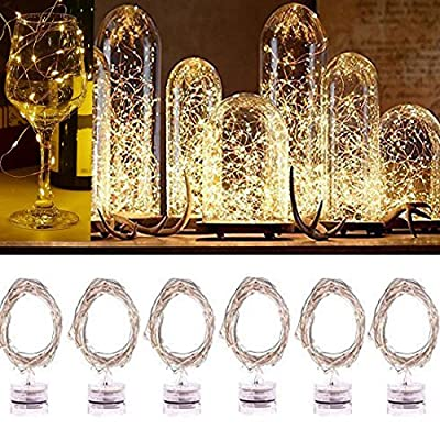 Waterproof LED String Lights, Indoor/Ourdoor Micro LED Lights, 2m/6.5ft 20 LEDs,Warm White Color, Battery Operated, Holiday DIY Decor Fairy Lights for christmas,Halloween,New Year.