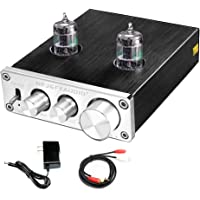 FX AUDIO Home Audio GE5654 Tube Preamp—Sound Quality Upgrade Electronic Hi-Fi Stereo Vacuum Tube Preamplifier with Bass & Treble Control DC12V Power Supply for Home Audio Player (Silvery)