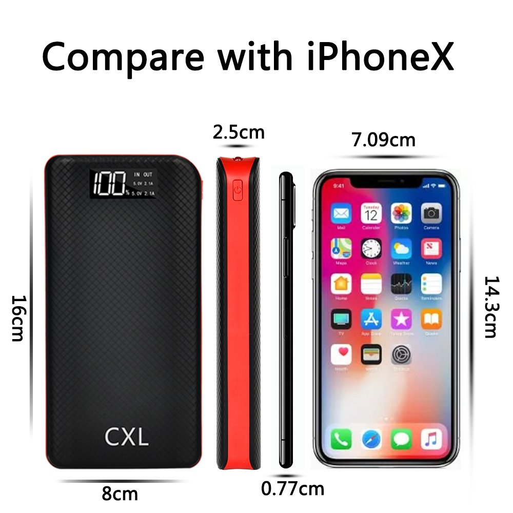 Power Bank Portable Charger 24000mAh High Capacity Dual Flashlights with LCD Indicator,3 USB Output Ports, Battery Pack Compatible with iPad, Samsung Galaxy,Android & More