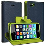 DMG Synthetic Leather Slim Wallet Flip Cover Case with Card Slots and Magnet Closure For Apple iPhone SE 5S 5 ( Pebble Blue )