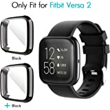 iCoold [2 Pack] Screen Protector Case Design for Fitbit Versa 2,Ultra Slim Soft TPU Full Cover Case All-Around Protective Plated Bumper Shell[Scratch-Proof] for Fitbit Versa 2 (Balck+Black)