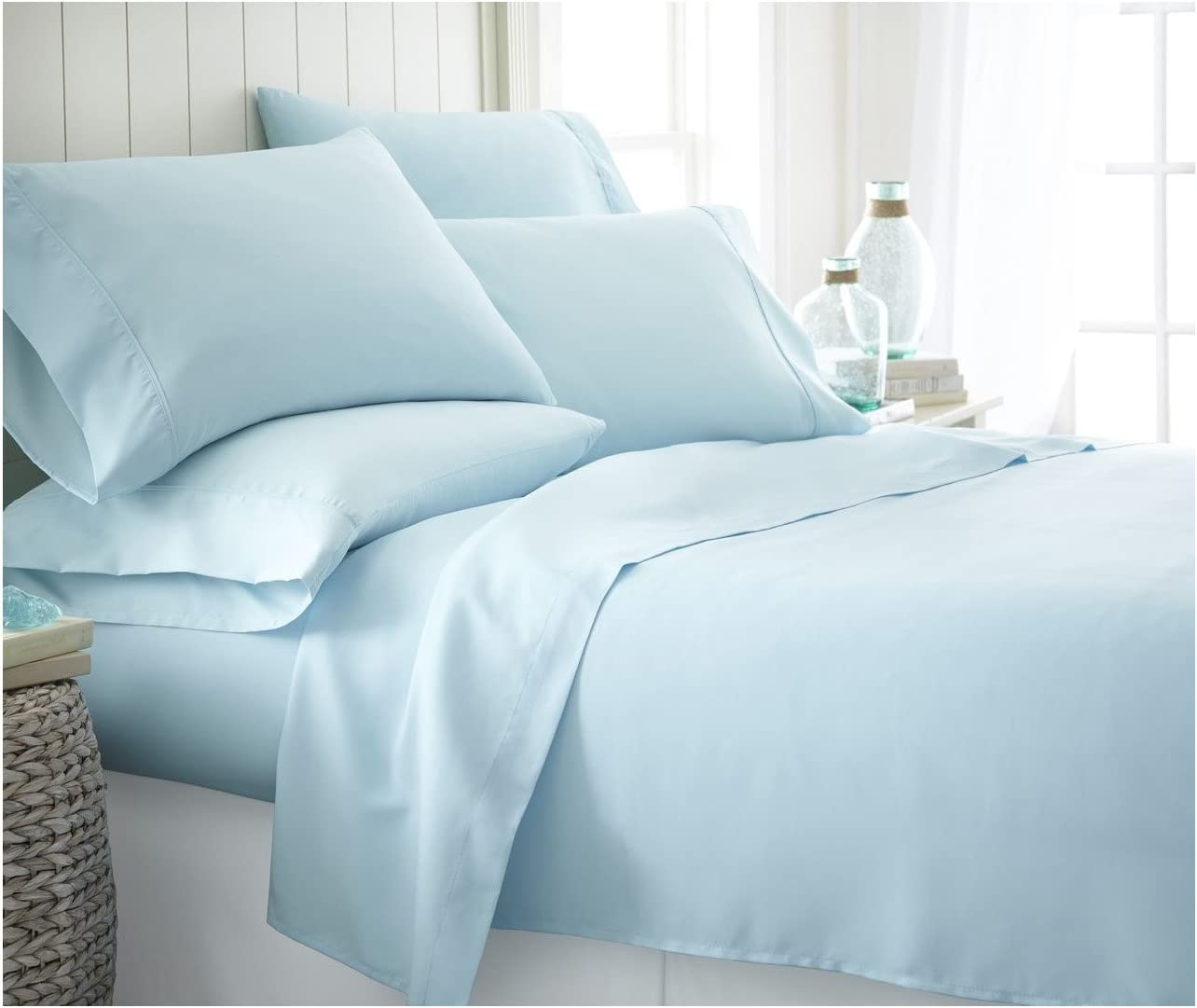 ienjoy Home 6 Piece Home Collection Premium Ultra Soft Bed Sheet Set, California King, Aqua, Calking